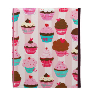 Modern Pink Cupcakes Girly iPad Folio Cases