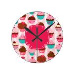 Modern Pink Cupcakes Girly Clock