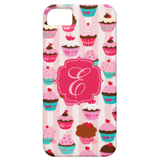 Modern Pink Cupcakes Girly Monogrammed iPhone SE/5/5s Case