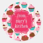 Modern Pink Cupcakes Monogrammed Food Label Sticker