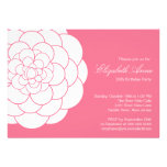 Modern Pink Dahlia Bloom Birthday Party Cards