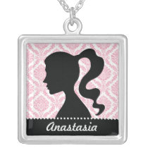 Modern Pink Damask Cameo Necklace