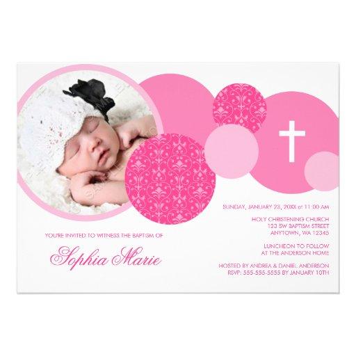 Modern Pink Damask Dots Photo Baptism Personalized Invite