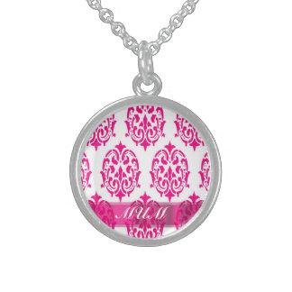 Modern Pink damask mothers Sterling Silver Necklace