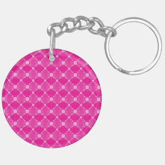 Modern Pink Diamond And Squares Pattern Keychain