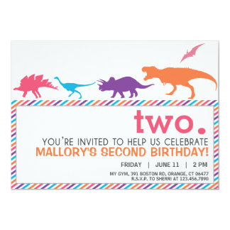 Modern Pink Dinosaur Silhouette Birthday Invite