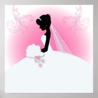 modern pink Elegant bride silhouette bridal shower Poster