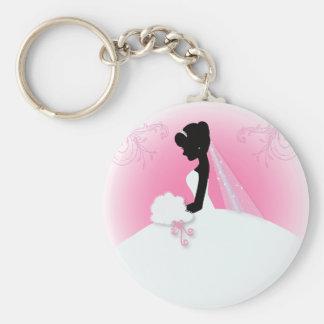 modern pink Elegant bride silhouette bride Key Chain