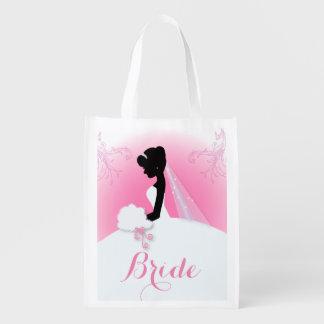 modern pink Elegant bride silhouette bride Reusable Grocery Bag