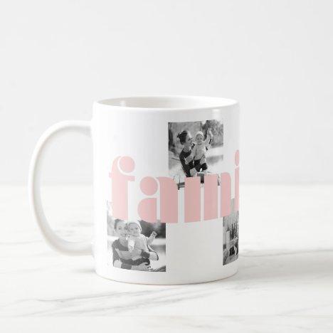 Modern Pink Family Type Four Photo with Monogram Coffee Mug