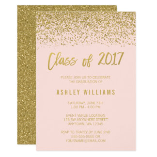 Modern Pink Faux Gold Glitter 2017 Graduation Card