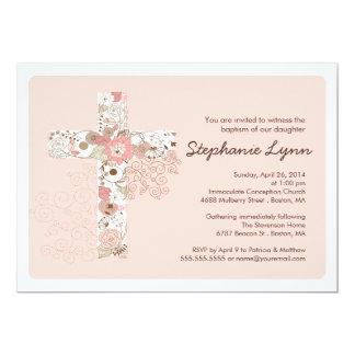 "Modern Pink Floral Cross Girls Baptism Invitation 5"" X 7"" Invitation Card"