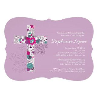 Modern Pink Floral Cross Girls Baptism Invitation