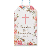 Modern Pink Floral First Communion Gift Tag