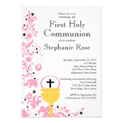 Modern Pink Floral First Holy Communion Invitation