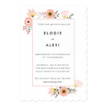 Modern Pink Floral Garden Wedding Invitation