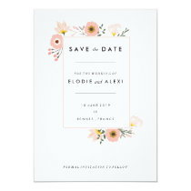 Modern Pink Floral Garden Wedding Save the Date Card