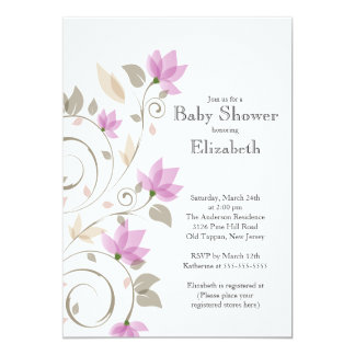 "Modern Pink Floral Girl Baby Shower Invitation 5"" X 7"" Invitation Card"