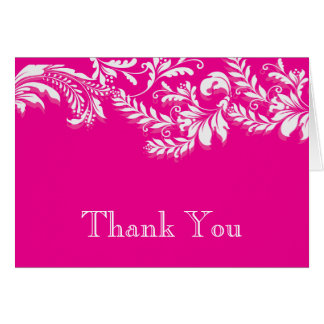 Modern Pink Floral Leaf Flourish Thank You Note Card