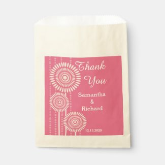 Modern Pink Floral Personalized Wedding Thank You