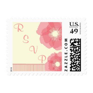 Modern Pink Floral RSVP Stamp
