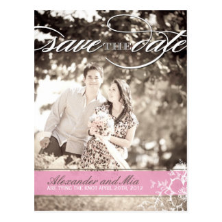 Modern Pink Floral Save the Date Postcard