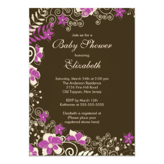 "Modern Pink Floral Spring Baby Shower Invitation 5"" X 7"" Invitation Card"