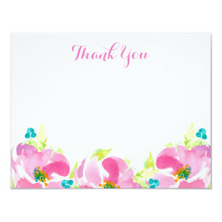 Modern Pink Floral Turquoise Custom Flat Note Card