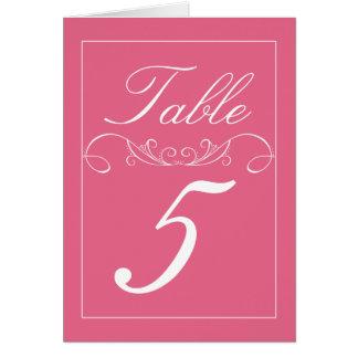 Modern Pink Flourish Wedding Table Number Cards