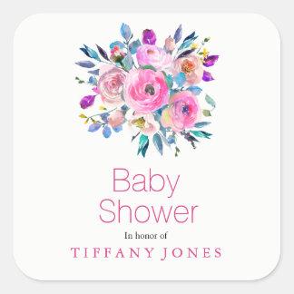 Modern Pink Flower Floral Baby Shower Sticker