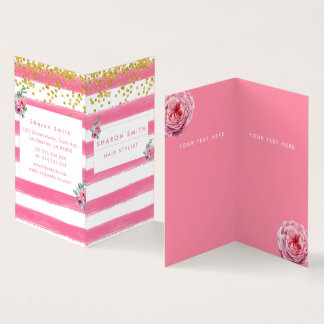 Modern pink flower floral glitter confetti elegant business card