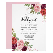 Modern Pink Flowers Elegant Wedding Invite