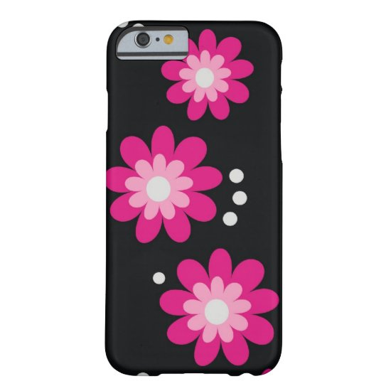 Modern Pink Flowers On Black Barely There iPhone 6 Case
