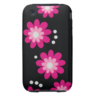 Modern Pink Flowers On Black TOUGH Tough iPhone 3 Cases