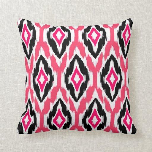 Modern pink fuchsia black Ikat Tribal Pattern 1a Throw Pillow Zazzle