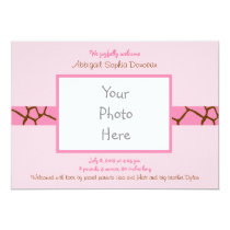 Modern Pink Giraffe Photo Birth Announcement