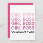 Modern Pink Girl Boss Best Girly Gift Holiday Card