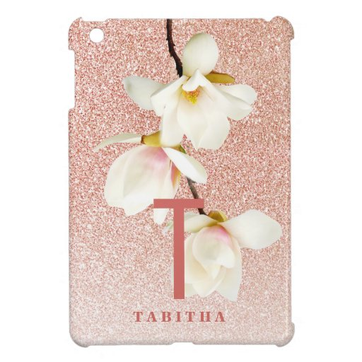 Modern pink girly monogram personalized magnolia case for the iPad mini