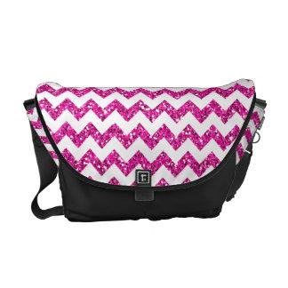 Modern Pink Glitter Chevron Zig Zag Bag Tote Purse Messenger Bag