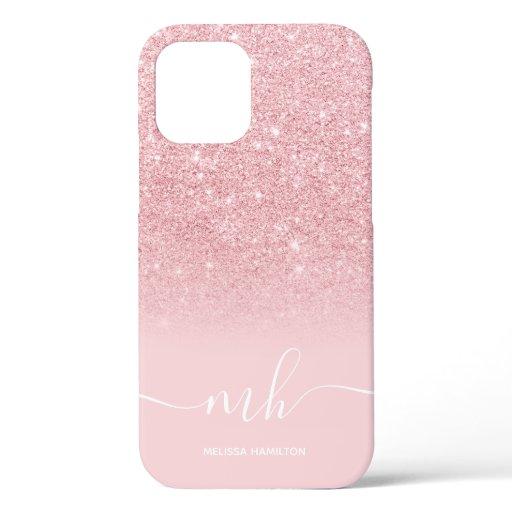Modern pink glitter ombre  elegant monogrammed iPhone 12 pro case