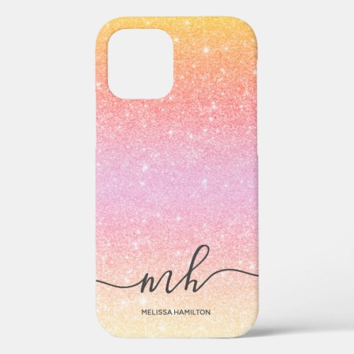 Modern pink glitter ombre yellow chic monogrammed Phone Case