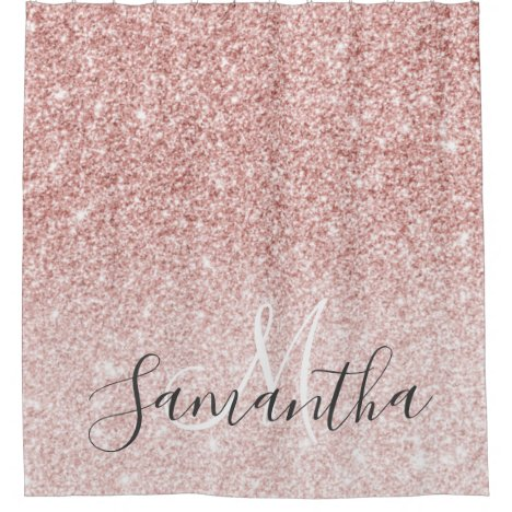 Modern Pink Glitter Sparkles Personalized Name Shower Curtain