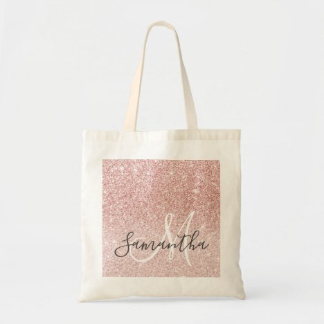Modern Pink Glitter Sparkles Personalized Name Tote Bag