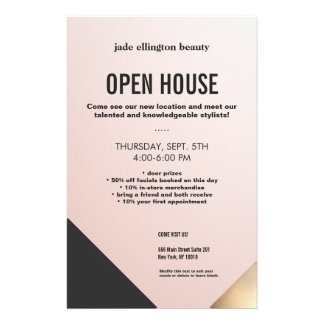 Modern Pink Gold and Black Colorblock Beauty Salon Flyer