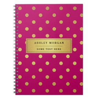 Modern Pink Gold Glitter Polka Dots Note Book