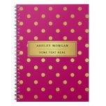 Modern Pink Gold Glitter Polka Dots Notebooks