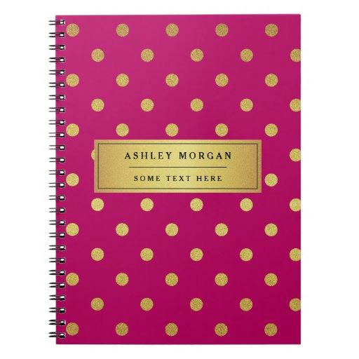 Modern Pink Gold Glitter Polka Dots Spiral Notebook