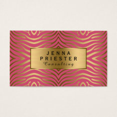 Modern Pink & Gold Zebra Stripes Pattern Business Card at Zazzle