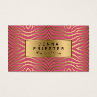 Modern Pink & Gold Zebra Stripes Pattern Business Card
