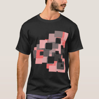 Modern Pink,Gray and Black Square Abstract Pattern T-Shirt